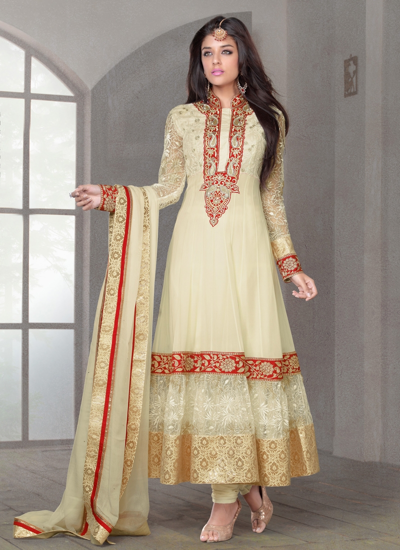 Resham And Sequins Work Anarkali Salwar Suit