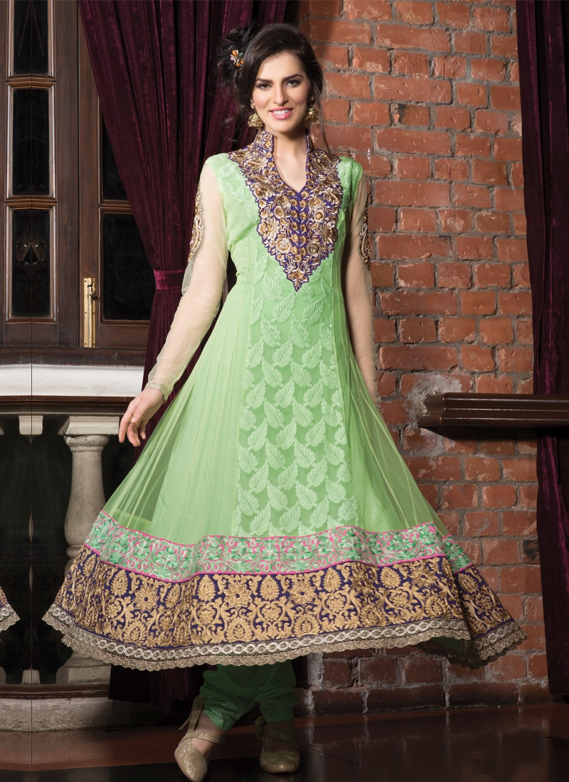 Resham And Stone Work Anarkali Salwar Suit