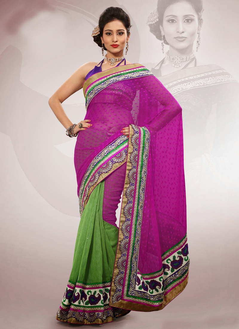 Resham And Stone Work Half N Half Saree