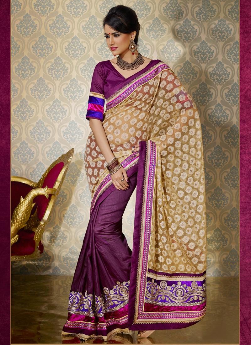 Resham And Velvet Patch Work Half N Half Saree