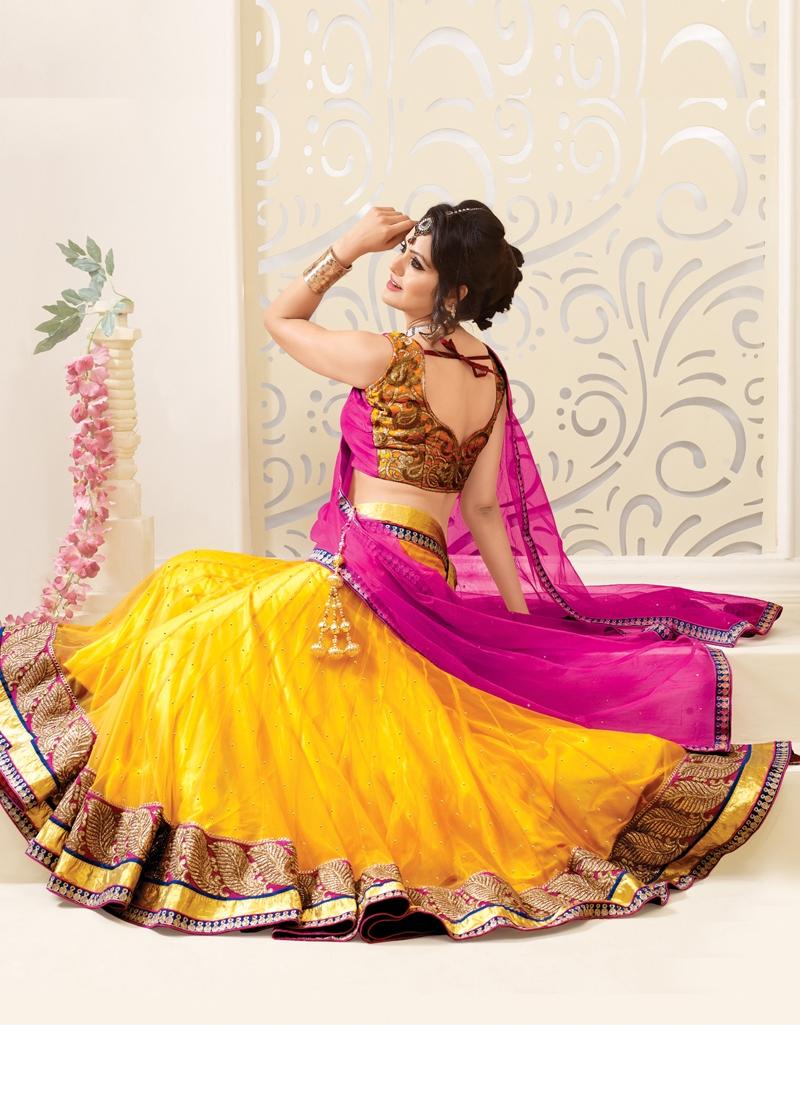 Resham Enhanced Net Wedding Lehenga Choli