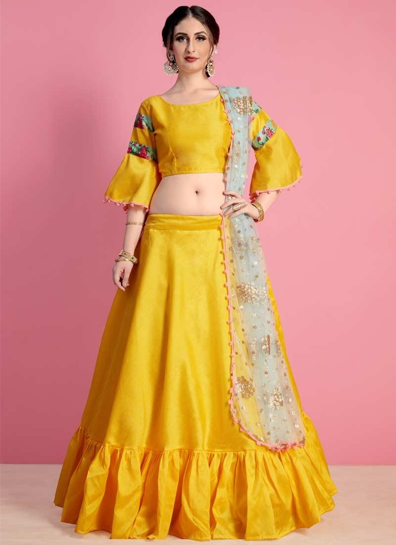Resham Work Art Silk Designer Classic Lehenga Choli