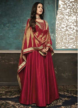 Resham Work Art Silk Long Length Salwar Kameez