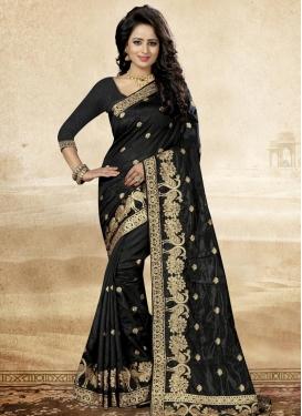 Resham Work Art Silk Trendy Saree For Ceremonial