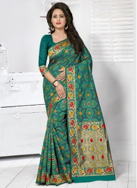 Resham Work Banarasi Silk Traditional Saree For Ceremonial