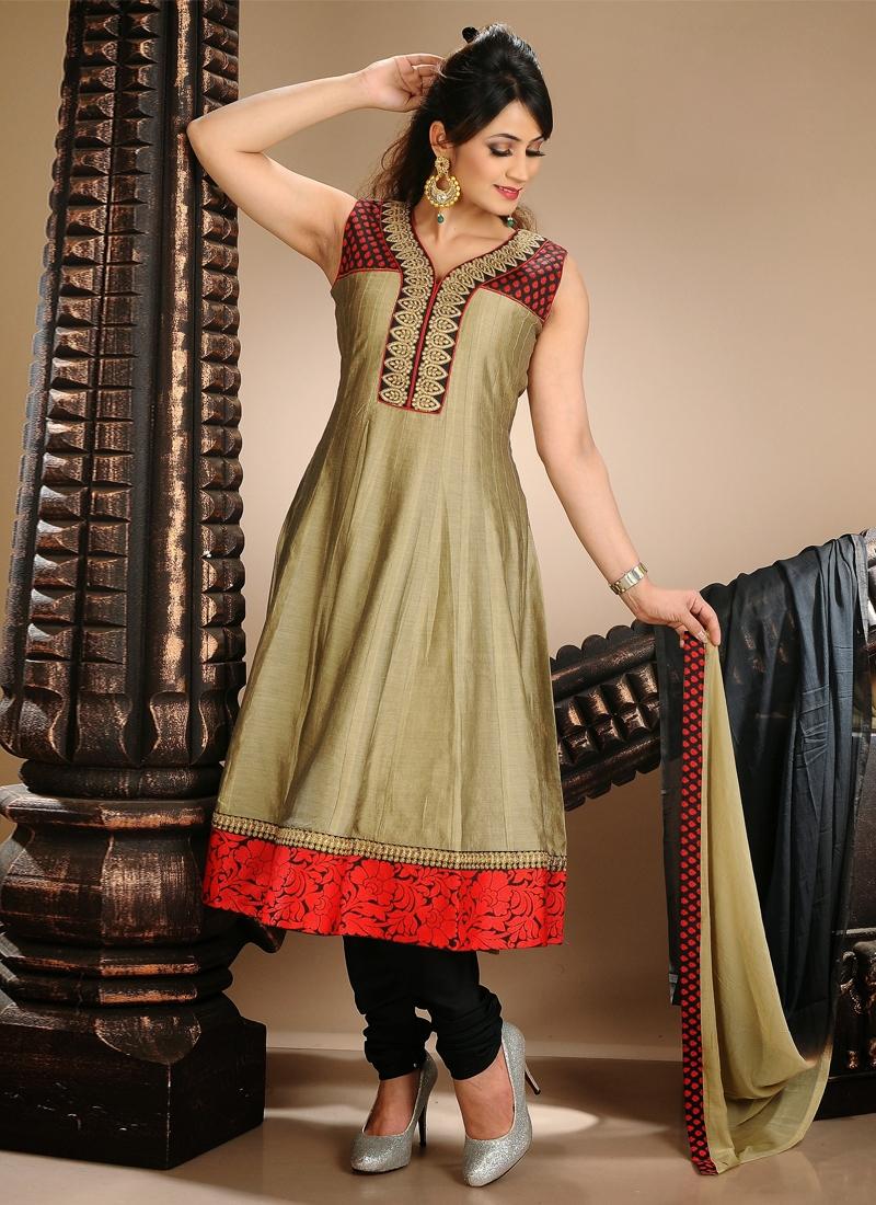 Resham Work Beige Color Readymade Salwar Kameez