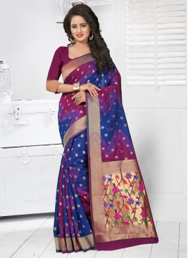 Resham Work Blue and Magenta Contemporary Style Saree