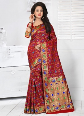 Resham Work Classic Saree For Festival