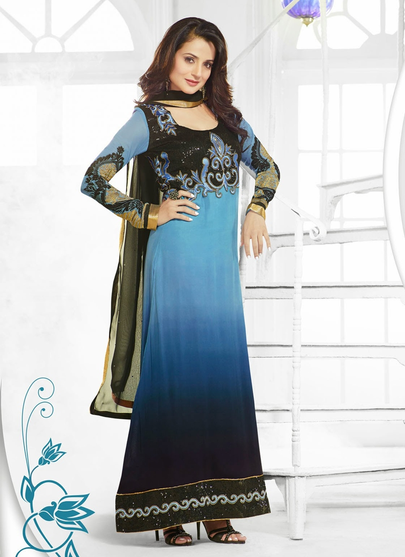 Resham Work Georgette Amisha Patel Bollywood Suit