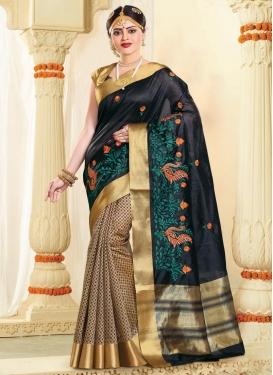 Resham Work Half N Half Designer Saree