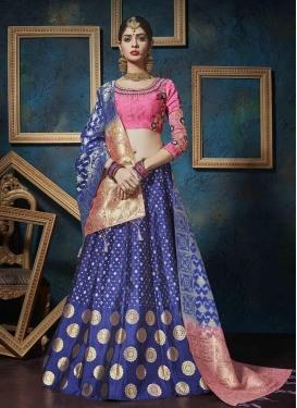 Resham Work Hot Pink and Navy Blue A Line Lehenga Choli