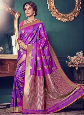 Resham Work Jacquard Silk Contemporary Style Saree For Ceremonial