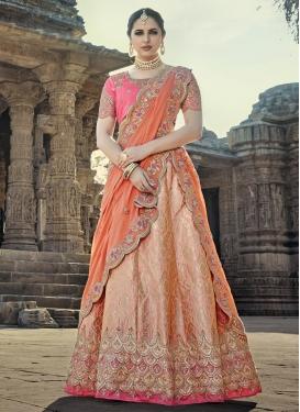 Resham Work Jacquard Silk Trendy Lehenga Choli