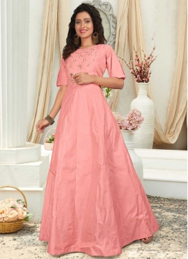 Resham Work Readymade Floor Length Gown