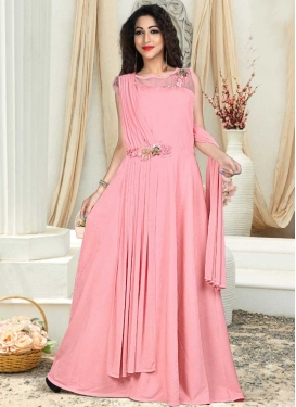 Resham Work Satin Silk Readymade Designer Gown