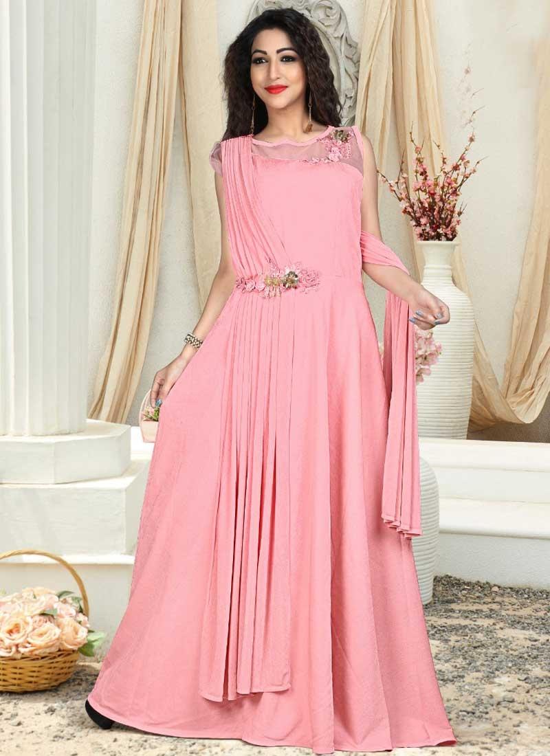 Resham Work Satin Silk Readymade Designer Gown