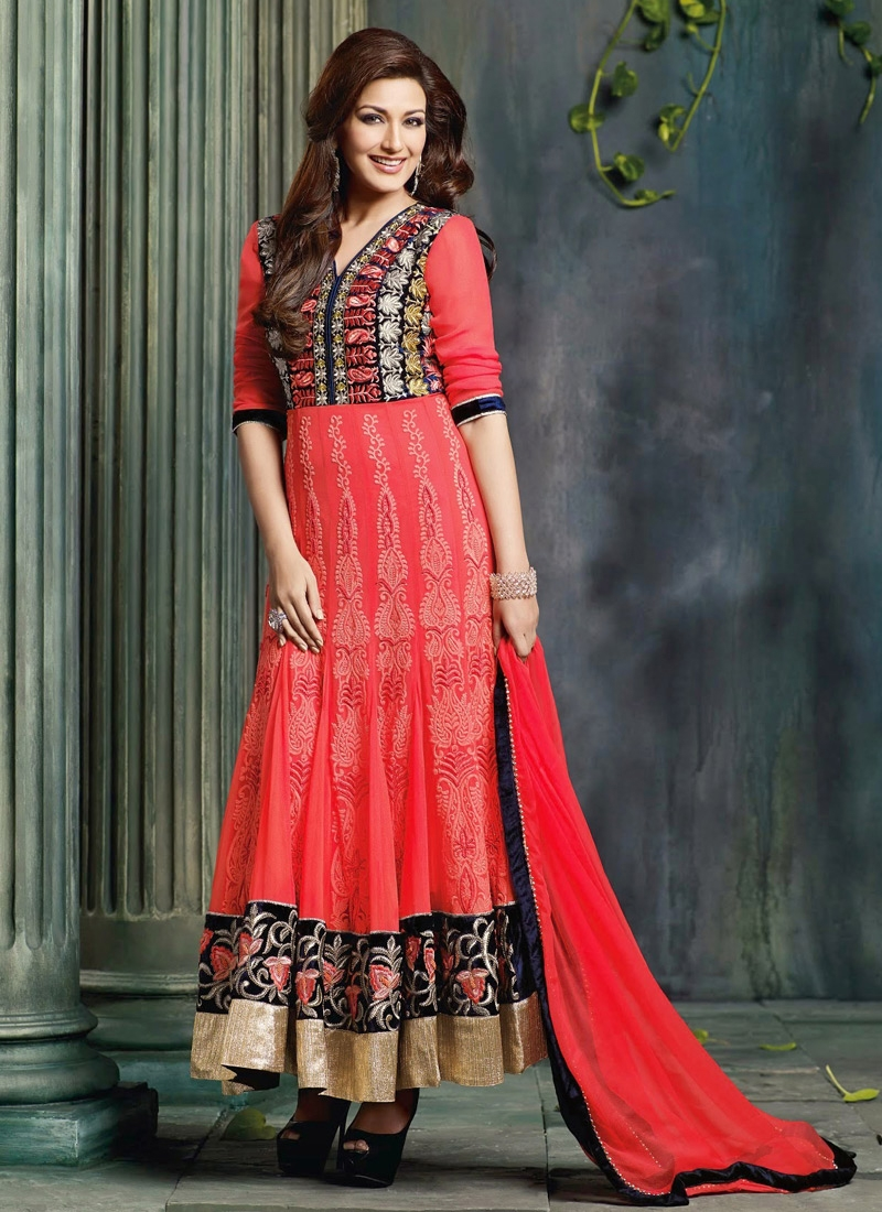 Resham Work Sonali Bendre Bollywood Suit