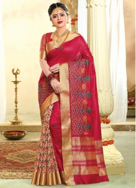 Resham Work Tussar Silk Beige and Crimson Designer Half N Half Saree