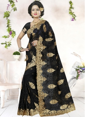 Resplendent  Aari Work Net Trendy Classic Saree For Festival