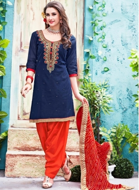 Resplendent  Beads Work Chanderi Silk Patiala Salwar Kameez