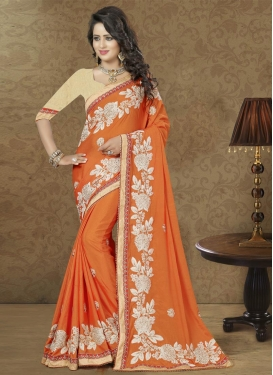 Resplendent Beads Work Chiffon Satin Trendy Designer Saree For Festival