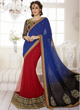 Resplendent Beads Work Georgette And Net Lehenga Saree