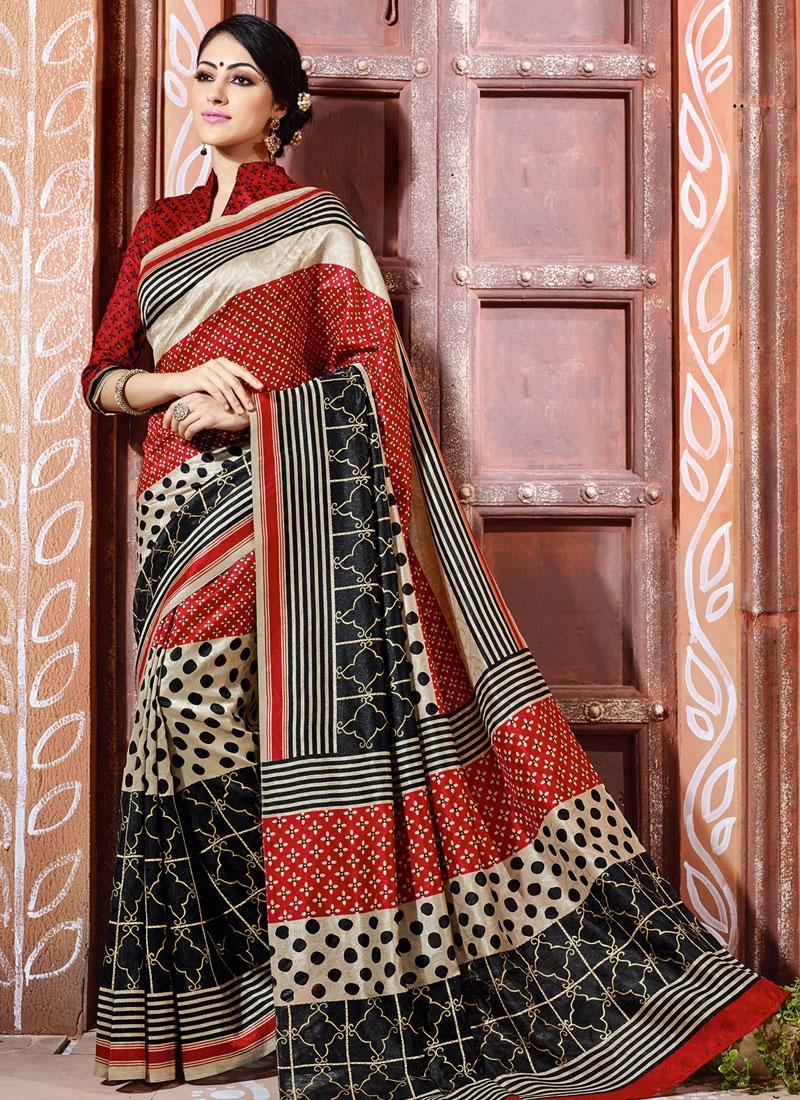 Resplendent Black Color Art Silk Casual Saree