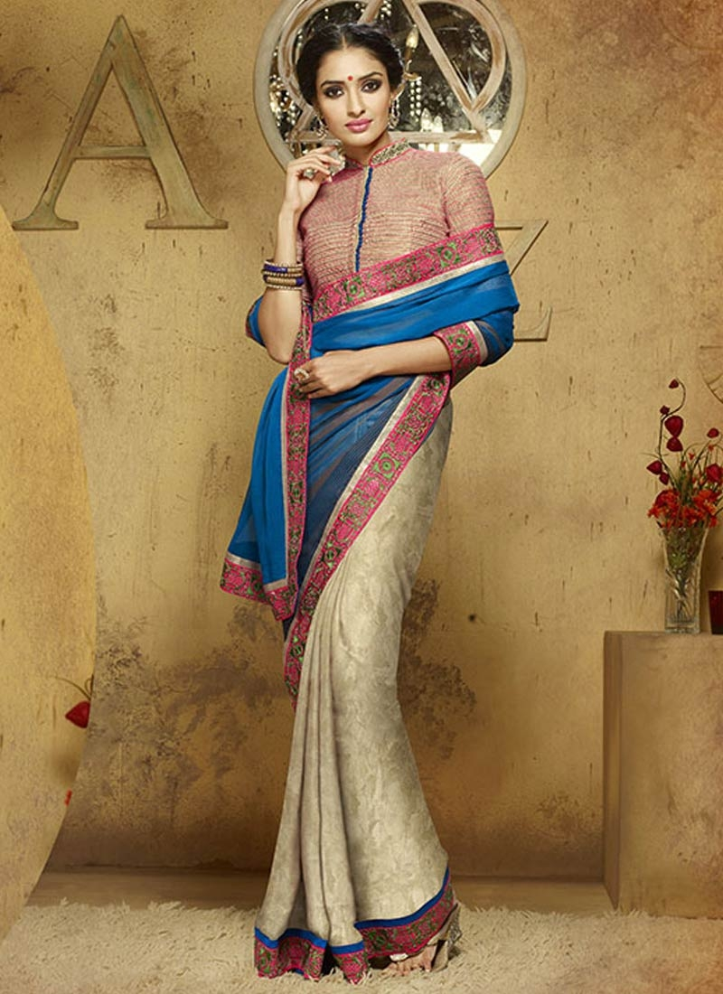 Resplendent Blue And Beige Color Half N Half Party Wear Saree