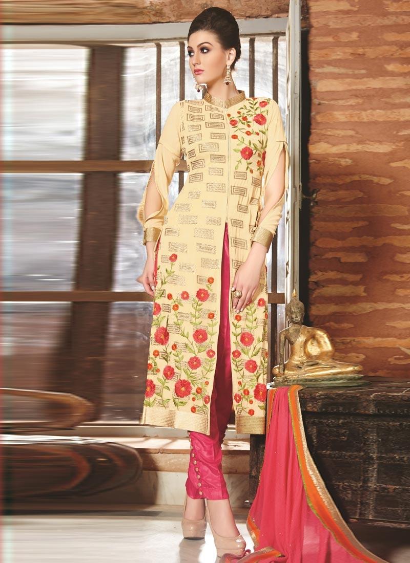 Resplendent Cream Color Pant Style Designer Suit