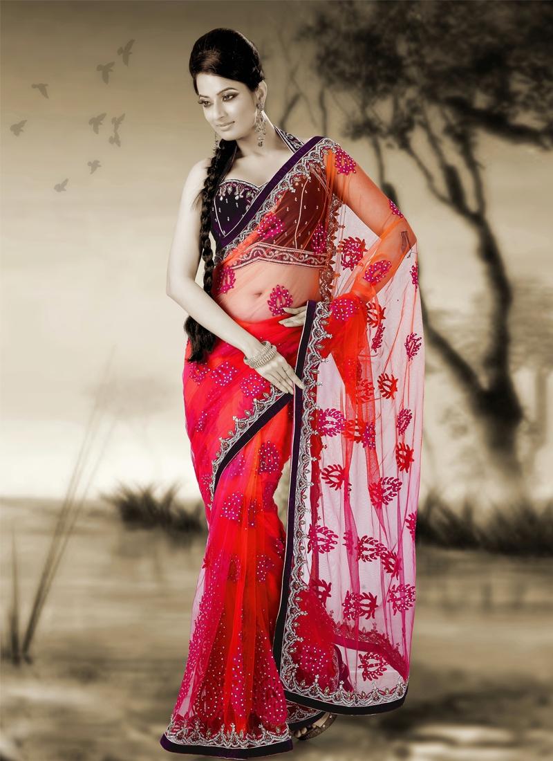 Resplendent Cutdana Work Net Wedding Saree