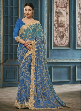 Resplendent  Faux Georgette Trendy Classic Saree
