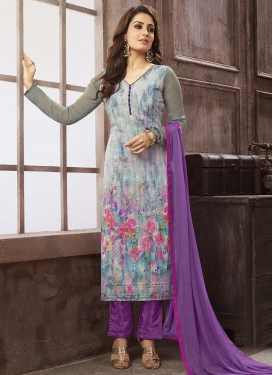 Resplendent Grey and Violet  Straight Pakistani Salwar Kameez
