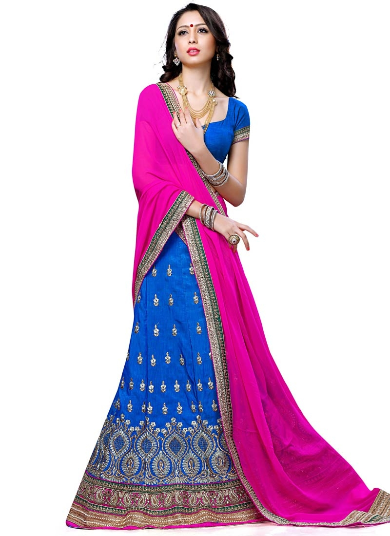 Resplendent Mirror Work Blue Color Wedding Lehenga Choli