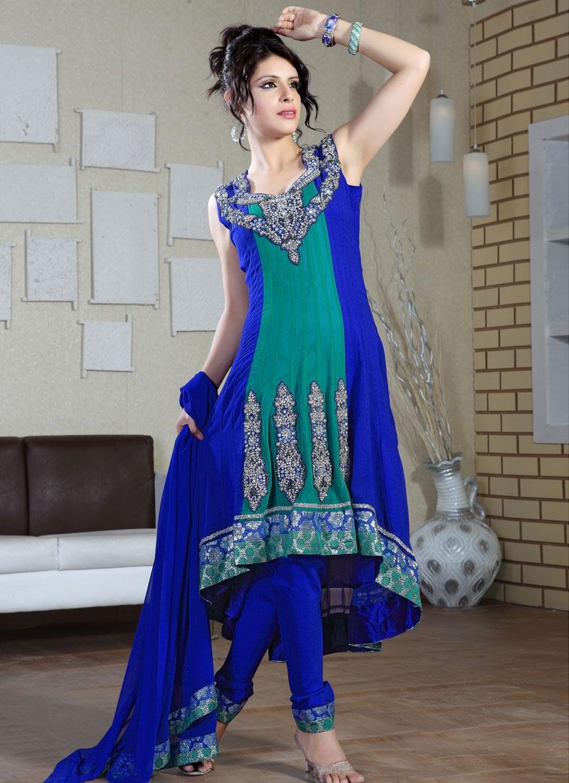 Resplendent Navy Blue And Teal Color Salwar Suit