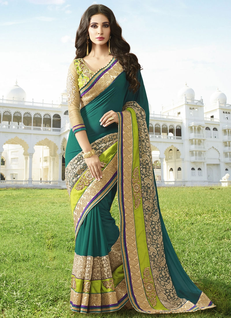 Resplendent Patch Border Work Teal Color Designer Saree