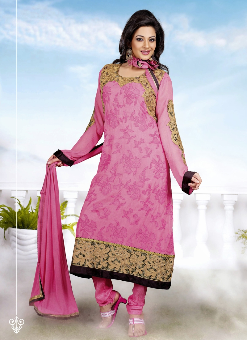 Resplendent Pink Color Churidar Salwar Kameez