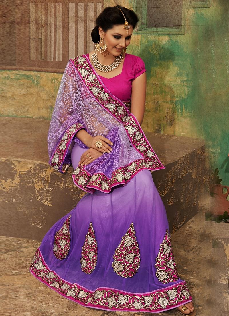 Resplendent Purple Color Net Lehenga Saree
