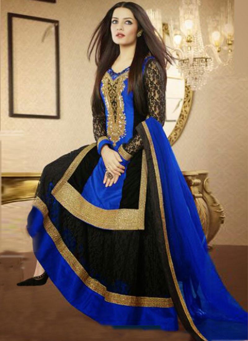 Resplendent Resham Work Celina Jaitley Designer Salwar Kameez