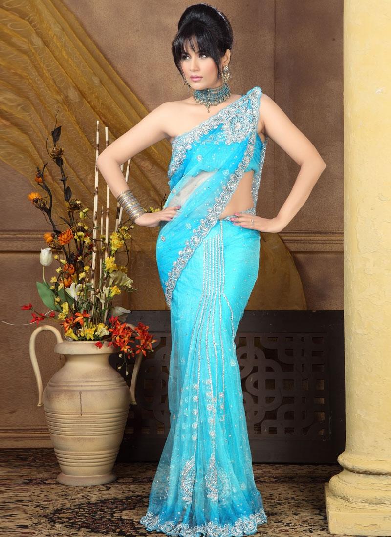 Resplendent Turquoise Color Lehenga Saree