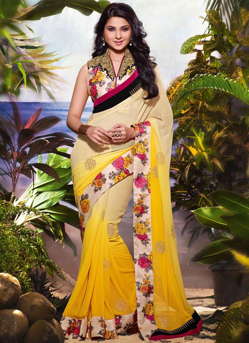 Resplendent Yellow Color Jennifer Winget Party Wear Saree