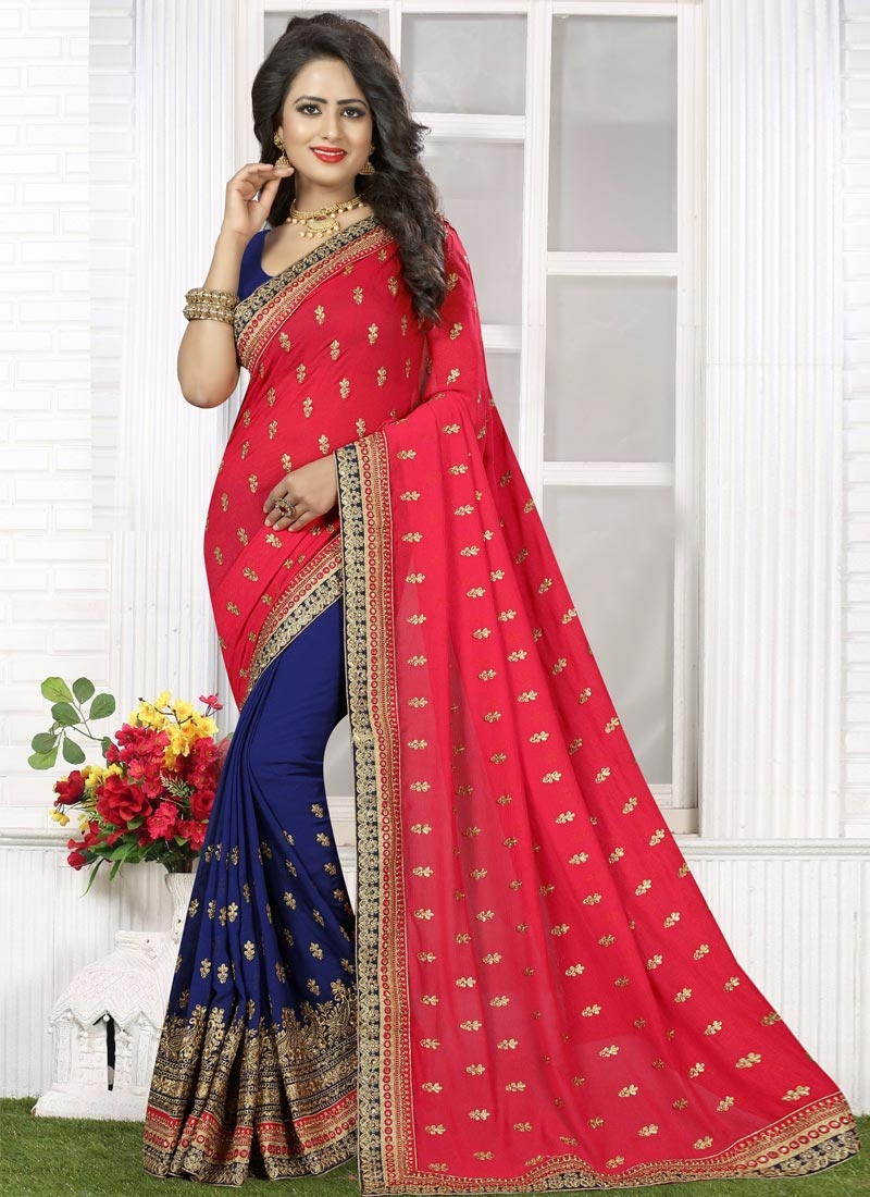 Riveting Bamberg Georgette Navy Blue and Red Half N Half Trendy Saree For Ceremonial