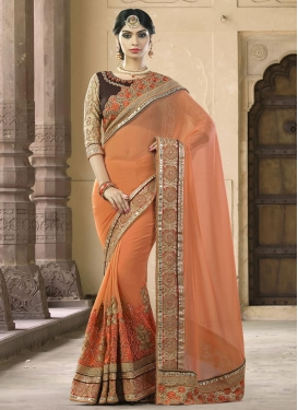 Riveting  Beads Work Faux Georgette Traditional Saree For Festival