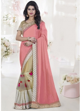 Riveting  Beads Work Half N Half Designer Saree