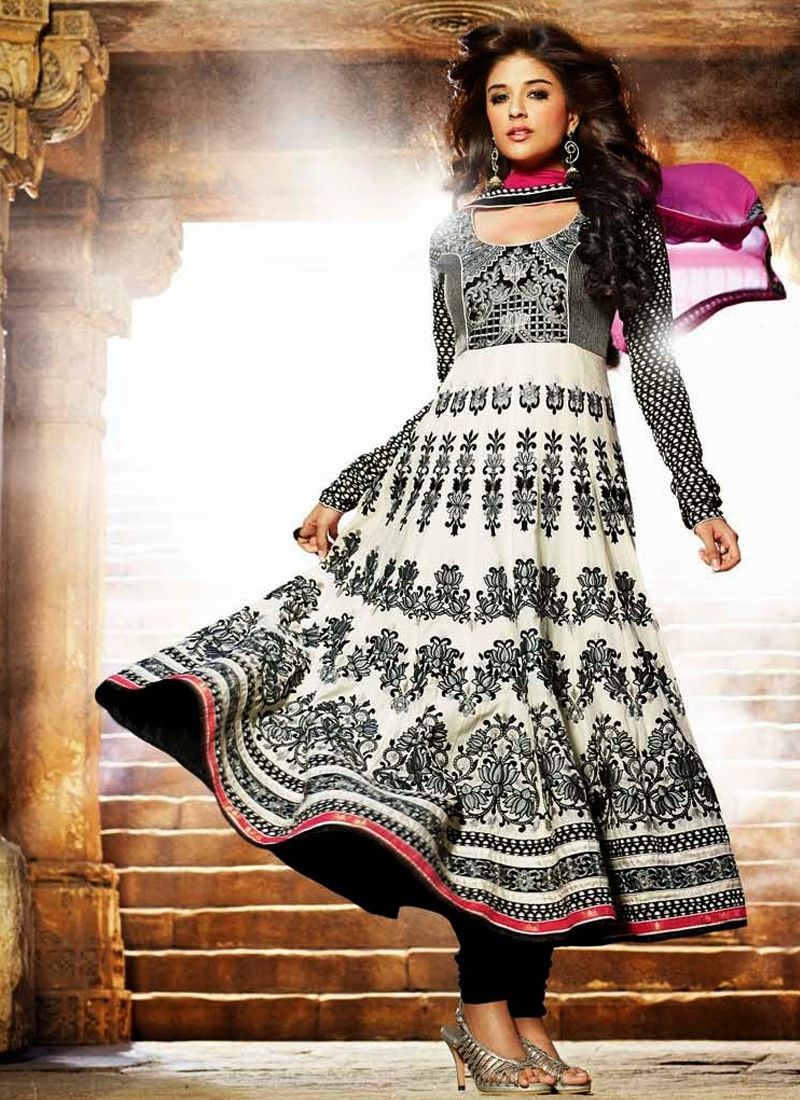 Riveting Black And Off White Party Wear Salwar Suit