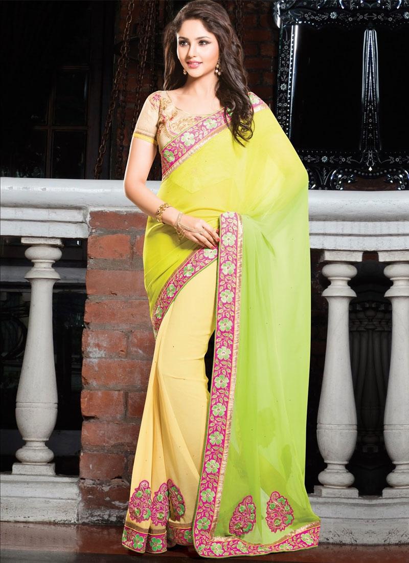Riveting Booti And Aari Work Half N Half Designer Saree