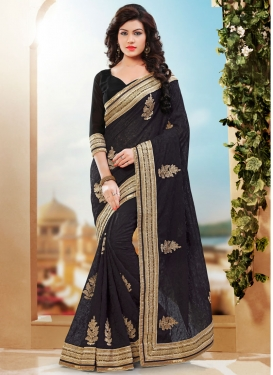 Riveting Chicken Work Black Color Designer Saree