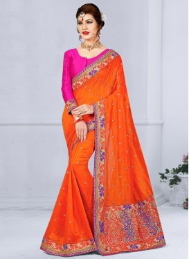 Riveting  Embroidered Work Jute Silk Magenta and Orange Contemporary Saree For Festival