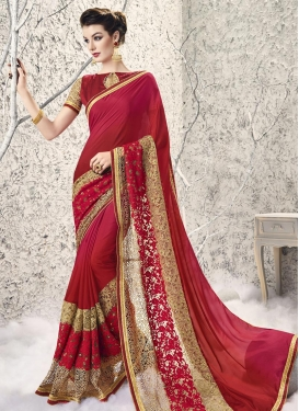 Riveting Faux Georgette Beige and Crimson Traditional Designer Saree For Ceremonial