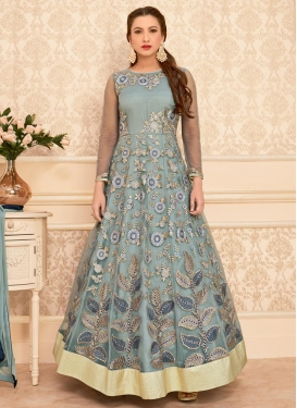 Riveting Gauhar Khan Aari Work Net Long Length Anarkali Salwar Suit