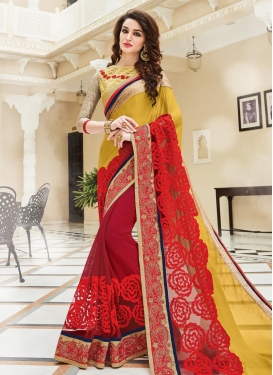 Riveting Mustard and Red Embroidered Work Contemporary Style Saree